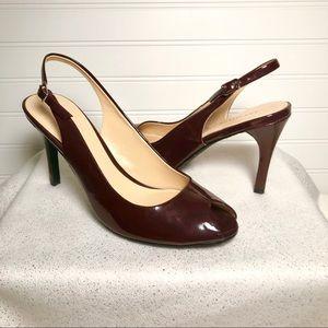 NWOT Ann Taylor Leather Peep Toe Sling Back Heels